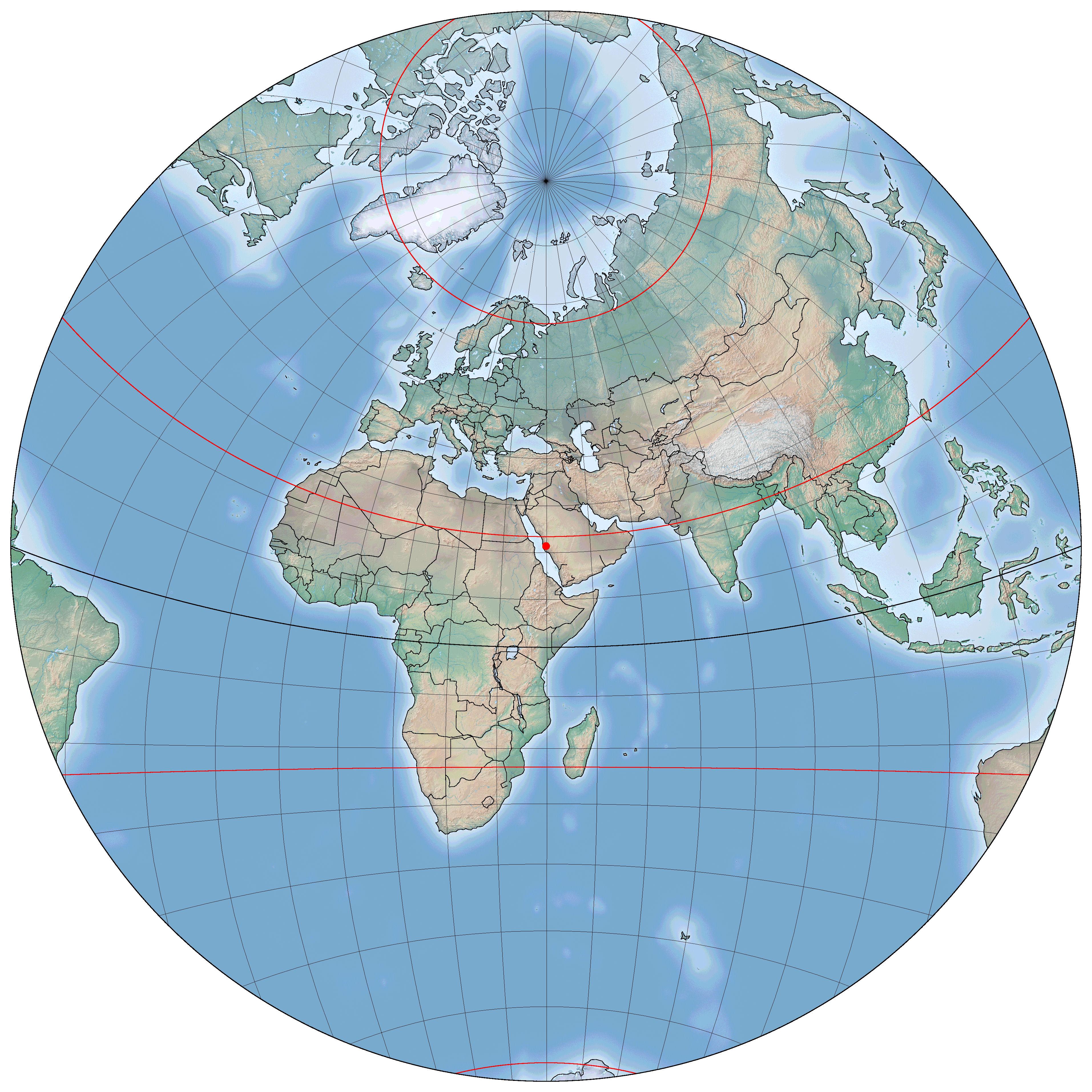 Di sini kita bisa lihat wilayah mana saja yang bisa mengoreksi kiblat saat Matahari di atas Ka'bah. Sumber: www.staff.science.uu.nl/~gent0113/islam/qibla.htm
